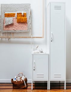 lockers-skinny-&-shorty-white - from Natural Bed Company Mustard Bedding, White Bedding, Bedding Sets, Bedside Lockers, Room Diffuser, Bed Company, Inside Doors, Kids Blankets, Hanging Rail