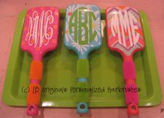 Monogram hairbrush offered in these 3 styles but you can personalize your font style and color
