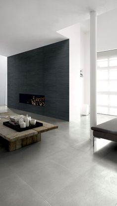 Ceramic tile wall as alternative to concrete or natural stone. #bold #beautiful #simple #walldesign