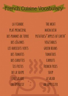 French Vocabulary List: Food, Cooking, and Meals http://takelessons.com/blog/french-vocabulary-food-cooking-and-meals-z04?utm_source=social&utm_medium=blog&utm_campaign=pinterest