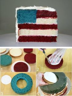 Cute for the 4th! Red could be red velvet and then it would taste like chocolate too!