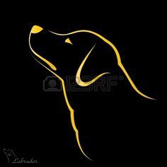 Vector image of an dog labrador on black background Labrador Silhouette, Dog Silhouette, Silhouette Design, Animal Line Drawings, Cool Art Drawings, Easy Paintings, Animal Paintings, Friend Tattoos, 13 Tattoos