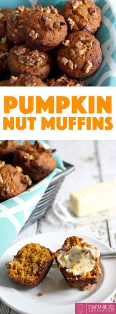 Dense and yummy Pumpkin Nut Muffins recipe are perfect for Fall breakfast!