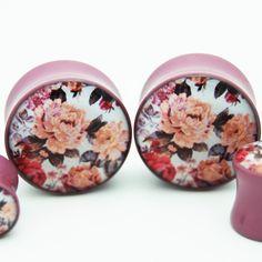 Subdued Mauve Vintage Floral Plugs BMA