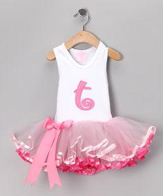 Hot Pink 'T' Appliqué Tutu Dress - Infant