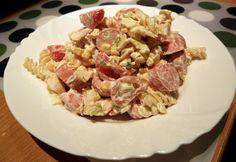 10 olcsó tésztasaláta tejfölös öntettel | nosalty.hu Pasta Salad, Pork, Chicken, Ethnic Recipes, Crab Pasta Salad, Kale Stir Fry, Pork Chops, Cubs