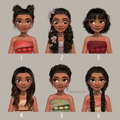 Moana: Different outfits and hairstyles