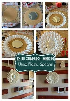 Also, Plastic Spoon Sunburst Mirror! Such a fun and simple craft that makes a HUGE impact! his post is aimed for you to make use of your plastic spoons in the most creative way possible. So, go on and check this incredible collection of DIY Amazing Plast Plastic Spoon Crafts, Plastic Spoons, Plastic Bags, Mirror Crafts, Diy Mirror, Spoon Mirror, Home Crafts, Easy Crafts, Diy And Crafts