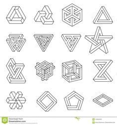 Set Of Impossible Shapes. Vector Illustration Isolated On White. Black Lines On A Stock Vector - Illustration of circle, alchemy: 123624235 Sacred Geometry Patterns, Geometry Shape, Sacred Geometry Art, Fractal Geometry, Circle Geometry, Optical Illusion Tattoo, Illusion Drawings, Optical Illusions Drawings, Art Optical