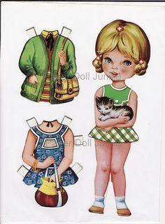 Conjunto de muñecas de papel digital