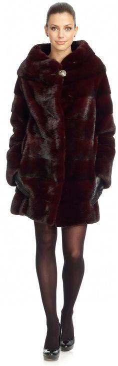Imperial Red Dyed Short Nap Horizontal Mink Fur Coat