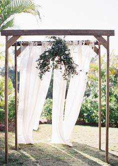 Simple but Elegant Wedding Canopy | More on SMP: http://www.StyleMePretty.com/2014/02/10/rustic-chic-australian-shoot-at-gurragawee/ Photography: Feather + Stone |
