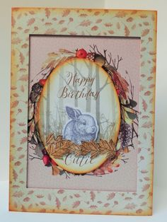 A5 card made by Sue Dinsdale using Kanban Woodland Friends
