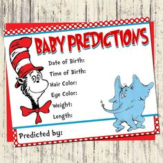 INSTANT DOWNLOAD - Dr. Seuss Predictions for Baby Cards - Matching Dr Seuss Baby Shower Invitation - Printable