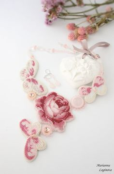 Necklace handmade beaded Set necklace and earrings Embroidery butterfly flower Embroidered Necklace roses Jewelry with flower rose beadwork