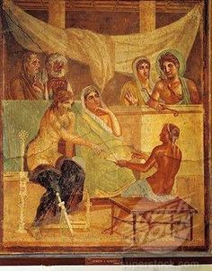 Fresco depicting Admetus and Alcestis consulting oracle, from the House of the Tragic Poet, Pompeii.