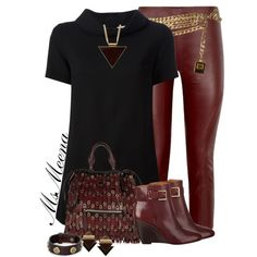 Wine leather leggings and tunic, created by msmeena on Polyvore