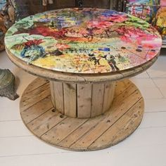 recycled cable drums as tables - Google Search