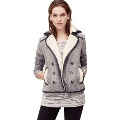 LOFT Gray pea coat Stylish light pea coat from LOFT. In great condition. Perfect for Fall or Spring  weather. LOFT Jackets & Coats Pea Coats