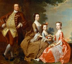 "The Thistlethwayte Family, circa 1758, by Thomas Hudson (1701–1779); Flower basket & some of the draperies by Joseph Wright of Derby, (1734-1797). "" A near-life-size portrait of Alexander Thistlethwayte, MP for Hampshire 1751–1761, wife Sarah, & daughters Anne & Catherine. As the elder daughter Catherine was depicted in pink, a color frequently worn by betrothed women, the portrait could have been commissioned to commemorate her forthcoming wedding."