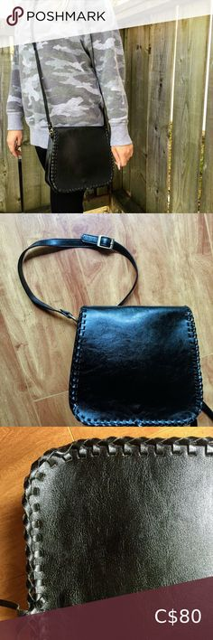 Vintage Black Stitched Leather Cross Body Bag This large crossbody bag is made of black rawhide stitched leather and solid brass hardware. It has tons of space inside and is unlined so you can see the leather inside. Its from the 1970s and has no brand mark inside which was common at that time. It has no marks or damage, and the strap is adjustable so you can shorten it to wear it over the shoulder if you like. Bags Crossbody Bags Large Crossbody Bags, Leather Crossbody Bag, Stitching Leather, Brass Hardware, Solid Brass, Vintage Black, Cross Body, Black And Brown, 1970s