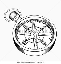 Compass. Cartoon Illustration Outline. High Resolution 3d ...