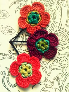 Crochet Flower Hair Pins Peach Pink and Purple by CatWomanCrafts, $10.00