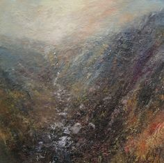 Kristan Baggaley. Heavy Rain, Grindlebrook, Kinder Scout. Mixed Media on Canvas