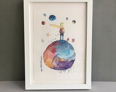 Girl Nursery Decor The Little Prince Painting Original Watercolor Baby Shower Gift New Baby Room Decor Nursery Wall Art New Baby Gift Baby Shower Ideas for Girls Baby Room Wall Decor, Nursery Wall Art, Girl Nursery, Nursery Decor, Baby Decor, Watercolor Paintings Nature, Watercolor Girl, Prince Nursery, Art Mural