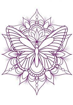 Tatuaje Mandala Floral, Butterfly Mandala Tattoo, Mandala Tattoo Design, Sunflower Tattoo Design, Henna Tattoo Designs, Vintage Butterfly Tattoo, Simple Mandala Tattoo, Mandala Thigh Tattoo, Pretty Tattoos