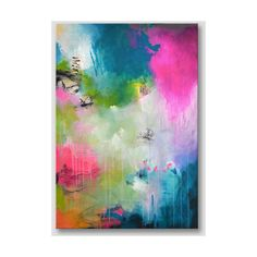 Original extra large abstract painting, modern fine art, bold colors, acrylic painting on stretched canvas, pink fuchsia turquoise artwork (€360) found on Polyvore featuring home, home decor, wall art, acrylic wall art, turquoise home decor, acrylic painting, turquoise home accessories and turquoise wall art