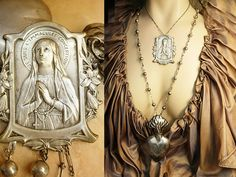 Sacred Heart Necklace French Icon sterling deco chains Ex Voto Perfume Holy water holder
