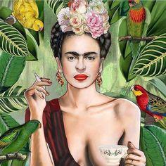 When you realize tomorrow is Friday… Frida con amigos by @nettsch_arts #FridaKahlo #TGIF
