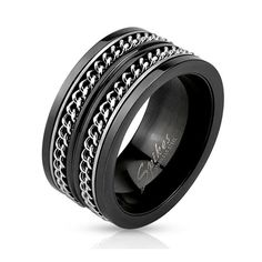 Layered Cuban Chains Black IP Spinner Ring, Men's