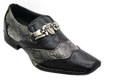 Mens Snake Skin Print Dress Shoes