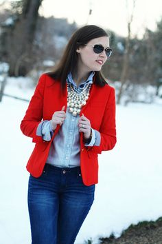 Resultado de imagen para red blazer outfit