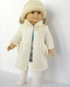 Winter Wonderland -  white coat and hat - PDF knitting pattern for American Girl dolls,