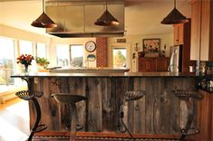 Rustic Wood Bar - perfect for kitchen re-do