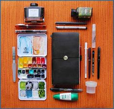"""Midori Traveler with pen and ink and gouache sketches on the """"Kraft"""" insert paper. Watercolor Kit, Watercolour Palette, Midori, Travel Sketchbook, Artist Supplies, Craft Supplies, Urban Sketching, Travel Kits, Bookbinding"""