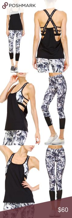 CHANTILLY workout set - PAINT How pretty is this workout set!!!   TOP: multi-colored paint print tank top features color blocking with side cutout, racer-back, cross-back, and draped front design.   BOTTOM: athletic capri leggings are really the cat's meow. The leggings have a stretch knit with mesh-paneled front. Fun multi colored paint print design.   Model is wearing size S for both top & bottom. Height: 5'8 Bust: - Cup: B Waist: 23 Hips: 35 Dress Size: 2   Fabric 88% POLYESTER 12%…