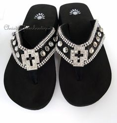 HOT PINK RHINESTONE CROSS FASHION WESTERN FLIP FLOPS ISABELLA BLING SANDALS NEW