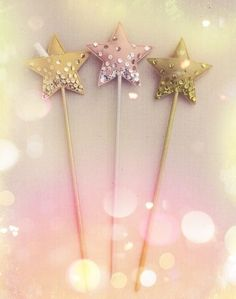 Pink and gold fairy wands