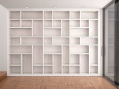 Illustration Of Empty Shelves In Modern White Interior Stock Photo, Picture And Royalty Free Image. Bookshelves In Living Room, Bookcase Wall, Bookshelf Design, Wall Shelves, Bookcases, Home Library Rooms, Home Library Design, House Design, White Shelves