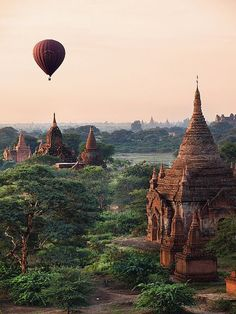 Hot air balloon above ancient temples of Bagan, Myanmar.