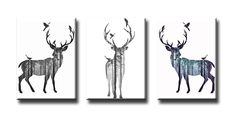 Wall Art Deer with Forest Background Prints on Canvas Unframed Modern Animal Pictures for Home Decoration (Stretched and Ready to Hang) *** Startling review available here  (This is an amazon affiliate link. I may earn commission from it)