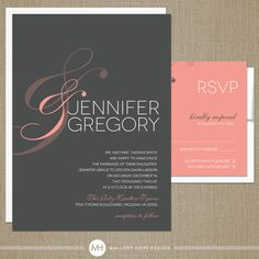 Peach & Sign Modern Wedding Invitation and by MalloryHopeDesign, $345.00