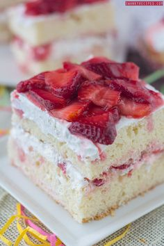 The perfect summer dessert starts with whipped cream and strawberries. This light tasting cake is great to make for spring and summer holidays like Mother