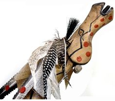 White Buffalo Horse Dance Stick by Artist James Little Wounded