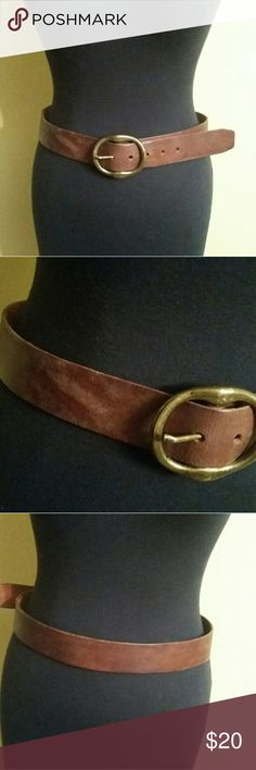 Brown Leather Belt Brown brushed leather belt. It's ver rugged and. In good condition. Accessories Belts