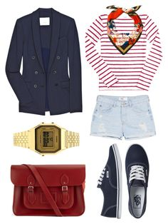 St. Piece Wardrobe Inspiration: St. Piece square silk twill scarf 'Mercury' #fashion #fashionset #style #streetstyle #polyvore #polyvorecontest #backtoschool #red #navy #jacket #blazer #adam #stripes #stripestop #denim #jeans #denimshorts #mango #sneakers #vans #accessoires #leatherbag #satchel #cambridgesatchel #scarf #silkscarf #stpiece #st_piece #jewellery #watch #topshop #casio
